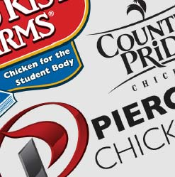 An off-centered compilation of Pierce Chicken, County Pride and Gold Kist brand logos.